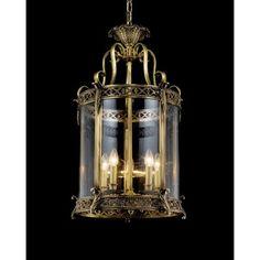 Murano Style Brass & Glass Foyer Chandelier