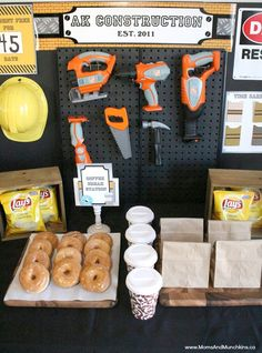 This Construction Birthday was set up like a work zone complete with a coffee break room, work zone area (safety gear & activities) and more!