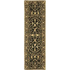 Safavieh Hand-hooked Chelsea Irongate Black Wool Rug (2'6 x 10') (HK11A-210), Size 2'6 x 10' (Cotton, Border)