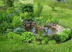Декоративный водоем с ровной береговой линией, которую можно оформить природными камнями.