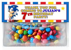 Sonic the Hedgehog Birthday Goodie Bag Toppers Party Favors