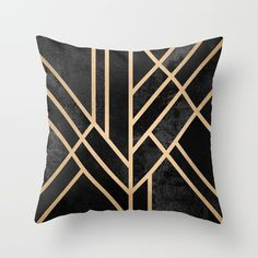 Art Deco Black Throw Pillow by Elisabeth Fredriksson. Worldwide shipping available at Society6.com. Just one of millions of high quality products available.