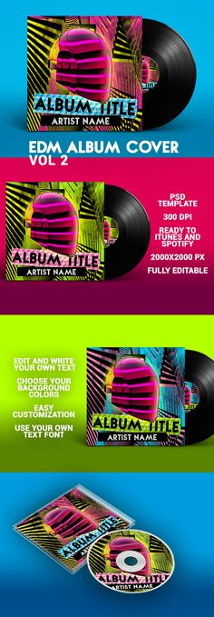 House Album Cover PSD Template – EDM Vol 2 Cover is a album cover template PSD file for your music album. Colorfull, bright, design. Perfect for EDM, house, dance, techno music, or another type. 2000x2000px, ready to upload to iTunes, Spotify. High definition. 300 dpi.  PSD template completely editable. Choose your background, text colors, and use your own text font. All layers and images are included. #album #cover #albumcover #psd #template #edm #musid #house #techno #skull #dance Techno Music, Text Fonts, Cover Template, Text Color, Artist Names, Music Albums, Psd Templates, High Definition, Edm
