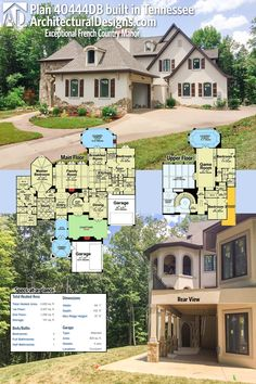 Our client built and modified Architectural Designs House Plan 40444DB in Tennessee with an innovative stucco and stone trim exterior. The floor plans show how the plan was originally designed.Ready when you are. Where do YOU want to build?