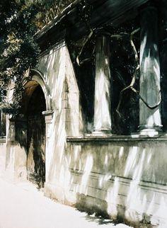 paul dmoch - lungarno del gen. diaz, florence, italie, watercolour.
