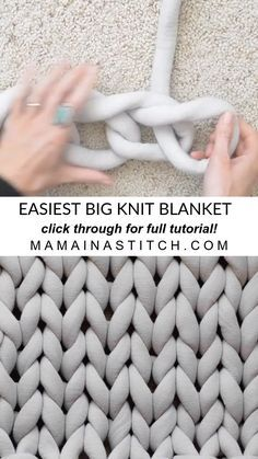 Easiest Method Big Knit Blanket This awesome free pattern and video tutorial shows you the easiest way to knit a big trendy blanket Arm knitting always looked difficult but this Chunky Yarn Blanket, Giant Knit Blanket, Knitted Blankets, Knot Blanket, Throw Blankets, Make Blanket, Blanket Crochet, Knitting Yarn Diy, Finger Knitting