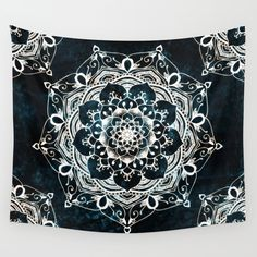 Glowing Spirit Mandala Blue White Wall Tapestry
