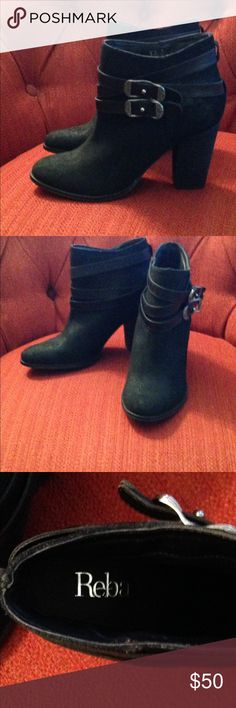 """New Reba Zania Boots. Fabulous boots by Reba.  Zania; size 7.5M; chunky heel 3-1/2"""" with belted detail.  Side zipper.  Leather upper.  These have a pretty sheen to them.  New without tag.  Never worn. Reba Shoes Ankle Boots & Booties"""