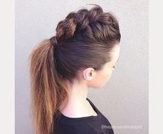 braided faux hawk ponytail
