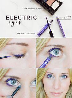 electric eye makeup tutorial, purple eyeliner, eyeshadow, bold makeup idea #TargetStyle