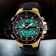 Men Stainless Steel Waterproof Chronograph Sport Digital Watches Analog Dual Time Alarm Date Hot 5HXH - The Big Boy Store