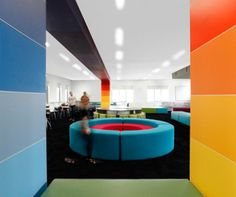 Learning Centre at Marian College - designed by Two Studio and UFM Solutions. Flexible furniture and purpose-built columns and bulkheads divide one large space into eight flexible and adaptable learning environments.