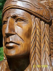 6 ft Cigar Store Indian Hand Carved Wood Chief Scout not antique Carved Wood, Hand Carved, Wood Sculpture, Sculptures, Cigar Store Indian, Tiki Statues, Cigar Shops, Medan, Wood Carvings