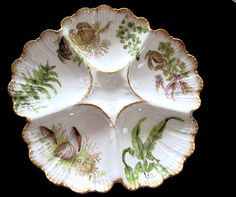 Antique T Oyster Plate