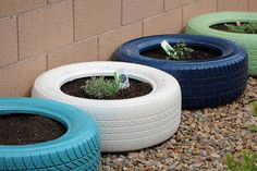 Painted Tire Container Garden. Good idea for used tires. Then just get spray paint for outdoor plastic furniture.