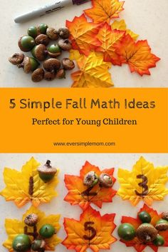 5 simple and easy Fall themed math activities for young children. Sorting, counting, graphing and patterning.