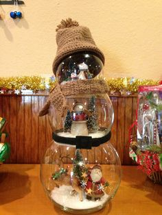 Fishbowl snowman centerpiece!