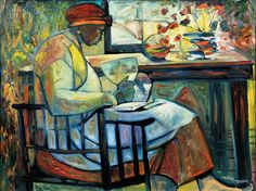 William Tolliver (American, 1951-2000), Profile Portrait of a Woman Reading a Bible Holding a Fan