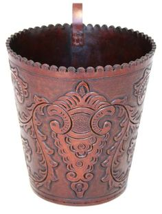 Tooled Leather Round Waste Bin