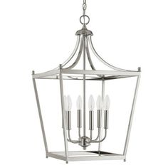 Lantern available in polished nickle, brushed nickel and bronze