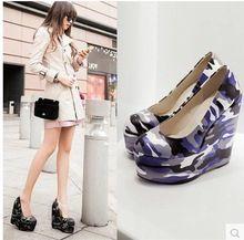 15 CM 2015 tamaño 34-43 mujeres camuflaje moda plataforma cuñas zapatos de la señora bombas Club del partido atractivos Fn3402(China (Mainland))
