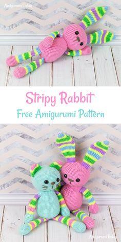 Stripy Rabbit crochet pattern #amigurumi #amigurumidoll #amigurumipattern #amigurumitoy #amigurumiaddict #crochet #crocheting #crochetpattern #pattern #patternsforcrochet