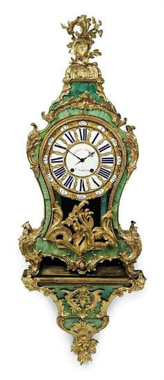 A LOUIS XV ORMOLU-MOUNTED CORNE VERTE STRIKING BRACKET CLOCK BAILLY L'AINE, PARIS, THIRD QUARTER 18TH CENTURY