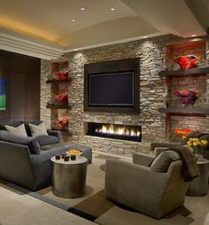 Ideas for contemporary fireplace with built-ins and TV nook. Ideas for contemporary fireplace with built-ins and TV nook. Living Room Tv Wall, Living Room Tv, Fireplace Design, Living Room With Fireplace, Contemporary Family Rooms, Contemporary Fireplace, Home Decor, House Interior, Room Design