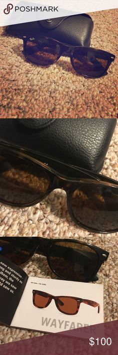 Ray-Ban Wayfarer Style Sunglasses Only worn once! Found a pair I liked better after wearing and Sunglasses Hut would not take them back. These are Wayfarer Style, color is describe as tortoise. Case and cleaning rag included Ray-Ban Accessories Sunglasses
