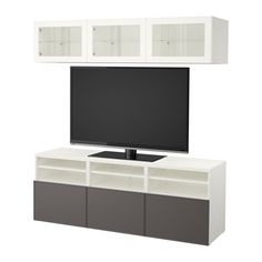 IKEA - BESTÅ TV storage combination/glass doors white Grundsviken,