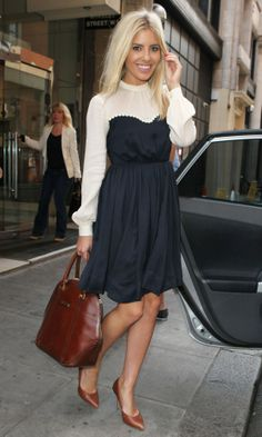 Mollie King Works A Cute High Neck Pleated Dress In London, 2013