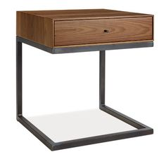 Our popular storage beds have the perfect mate with the Hudson C-table, which allows you to access under-bed storage drawers without moving your nightstand. This space-saving design features closed storage for remotes and magazines in a small footprint. The hand-welded base is sturdy and provides a modern counterpoint to the beautiful wood drawer.