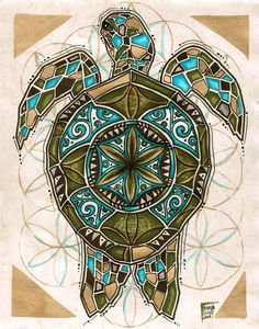 Would be beautiful stain glass! Visionary art illustration incorporating sacred geometry, the Flower of Life, and geometric designs inspired by traditional Polynesian tribal art by Tanglefire Sea Turtle Art, Turtle Love, Sea Turtles, Mandala Turtle, Arte Tribal, Tribal Art, Art And Illustration, Art Maori, Dibujos Zentangle Art