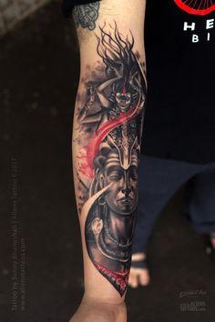 Lord Shiva-Kali Tattoo by Sunny Bhanushali at Aliens tattoo India Kali Tattoo, Shiva Tattoo Design, Mantra Tattoo, Devil Tattoo, Ohm Tattoo, Tattoo Art, God Tattoos, Body Art Tattoos, Sleeve Tattoos