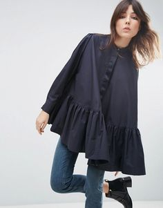 ASOS WHITE Long Sleeve Frill Hem Oversized Shirt