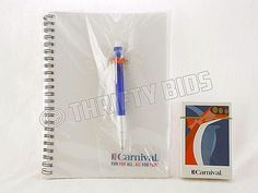 Carnival Cruise Line Spiral Ruled Notebook Note Pad Journal Pen & Playing Cards