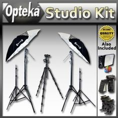"Amazing!!    Advanced Portrait Studio Starter's Kit by Opteka Package Includes 2 x Opteka 45-inch Lighting Umbrella Kits, 54"" Heavy Duty Tripod, 2 Additional Light Stands and Much More (Electronics) http://www.amazon.com/dp/B004W40TQU/?tag=whit09b-20"