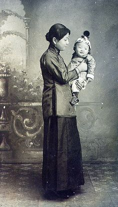 vintage everyday: Rare Photographs of Chinese Women from the 1800s- Here's a universal image if ever there was one: a mother and her baby. It looks like a boy, which at the time was the more desirable sex for a child.