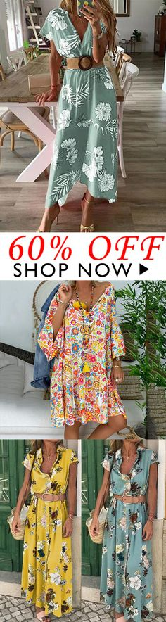 For Your Chic Look >>>Bohemian Printed V Neck Loose Dress Para tu look elegante >>> Vestido Boho Fashion, Fashion Dresses, Womens Fashion, Bohemian Print, Patchwork Dress, Teenage Outfits, Mode Outfits, Look Chic, Boho Dress