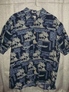 c48ef2878 Mens Large Natural Issue Hawaiian Print Button Down Blue Short Sleeve Shirt