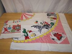 vintage circus tablecloth and towel