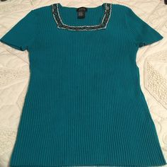 Turquoise Sweater Petite XL Juniors RQT Sweaters Crew & Scoop Necks