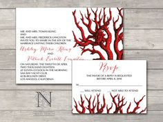 Coral Reef Wedding Invitations with RSVP and envelopes - Sea life aquatic invites. $3.75, via Etsy. www.nellybean.etsy.com www.nelliadesigns.com #wedding #invitation #WeddingInvitation #NelliaDesigns