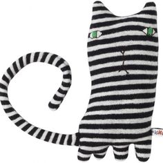 This is Mono Cat. Mono Cat loves mint humbugs and likes using Zebra Crossings. All Donna Wilson creatures are knitted in the UK using the softest Cat Toys, Doll Toys, Sock Dolls, Cat Patch, Cat Crafts, Little Doll, Soft Sculpture, Softies, Cat Art