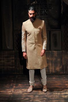 Royal And Classy Bandhgala Sherwani - Indian Outfit Mens Indian Wear, Mens Ethnic Wear, Indian Groom Wear, Indian Men Fashion, Men Fashion Show, Mens Fashion Suits, Men's Fashion, Groom Fashion, Indian Suits