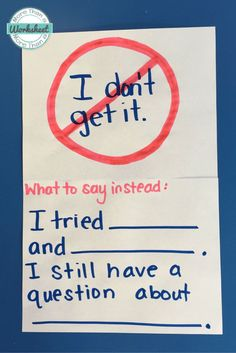 This is a great way to implement growth mindset practice into the classroom. Showing students that it is okay to fail but they should try multiple times and evaluate what part they are confused about and then ask in the right way. Classroom Posters, Science Classroom, School Classroom, Classroom Ideas, Future Classroom, Math School, Teaching Strategies, Teaching Tips, Teaching Math