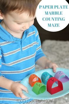 This Paper Plate Marble Counting Maze is so quick to make and super fun! It's a great way to use up extra, odd numbered paper plates (like I have done), plus you probably have the rest of the materials right at home, saving you a trip to the store. Color Activities For Toddlers, Outdoor Activities For Kids, Preschool Learning Activities, Infant Activities, Kids Learning, Number Activities, Preschool Ideas, Paper Plate Crafts For Kids, Educational Games For Kids