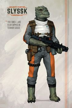 Our Resident Trando Bounty Hunter/Survivalist, by the ever-talented Will Nunes! Ffg Star Wars, Star Wars Rpg, Edge Of The Empire, The Empire Strikes Back, All Jedi, Saga, Star Wars Species, Star Wars Characters Pictures, Star Wars Bounty Hunter