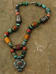 P 141 Ethnic Banjara Women Necklace Tribal India Vintage Pendant Amber Look