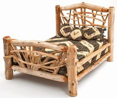 Handcrafted White Cedar Free Form Style Log Bed Item Br04050 Full 995 Queen